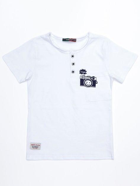 Biały bawełniany t-shirt dziecięcy z nadrukiem aparatu                              zdj.                              1