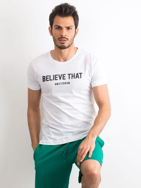 Biały bawełniany t-shirt męski z napisem