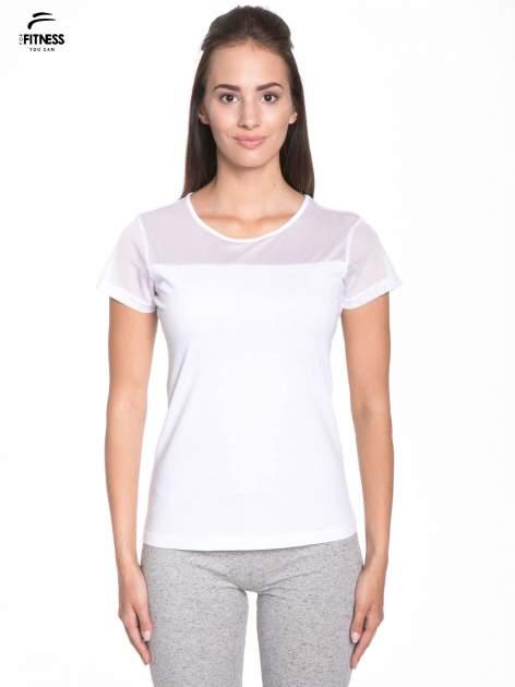 Biały bawełniany t-shirt z siateczką                                  zdj.                                  1