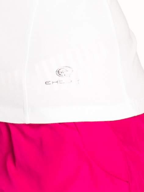 Biały damski t-shirt sportowy z dekoltem U                                  zdj.                                  5