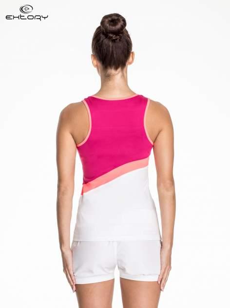 Biały damski top sportowy z różowym modułem                                  zdj.                                  3