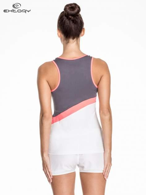 Biały damski top sportowy z szaro-różowym modułem                                  zdj.                                  4