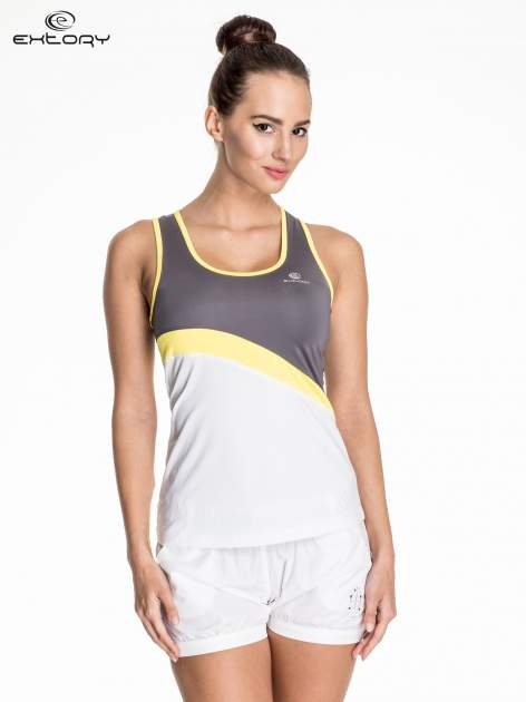 Biały damski top sportowy z szaro-żółtym modułem                                  zdj.                                  1