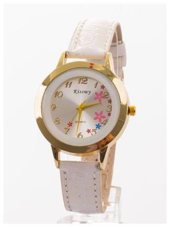 Biały delikatny damski zegarek z motywem kwiatowym na tarczy                                  zdj.                                  1