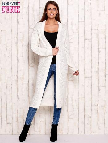 Biały długi dzianinowy sweter                                  zdj.                                  4