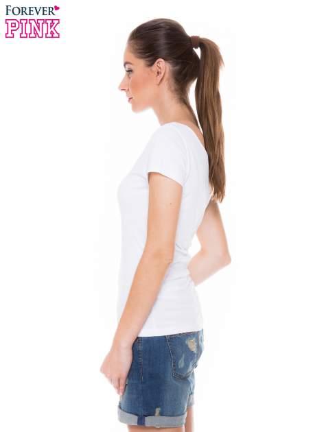 Biały gładki t-shirt z marszczeniem z tyłu                                  zdj.                                  2
