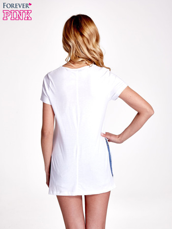Biały gładki t-shirt z rozcięciami na bokach                                  zdj.                                  4