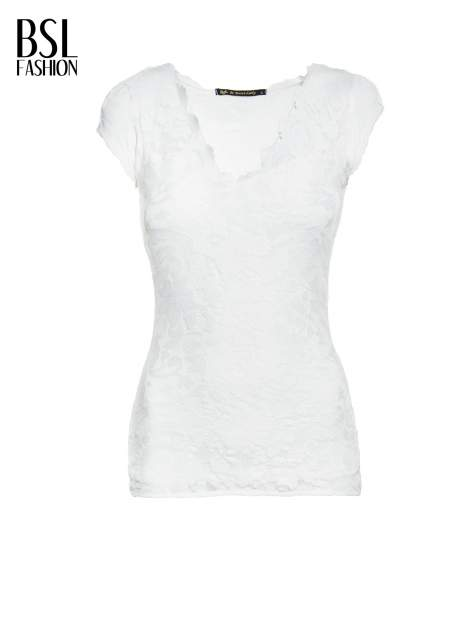 Biały koronkowy t-shirt z głębokim dekoltem                                  zdj.                                  2