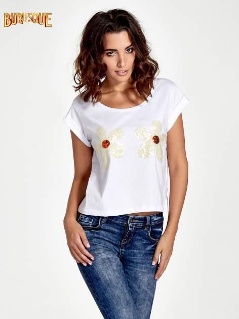 Biały krótki t-shirt z kwiatkami z cekinów                                  zdj.                                  1