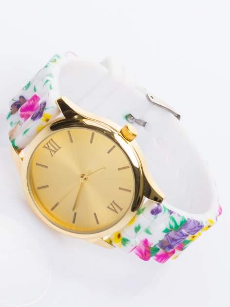 Biały kwiatowy zegarek damski ze złotą tarcżą                                  zdj.                                  2