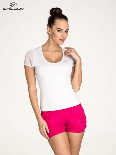 Biały panterkowy t-shirt sportowy PLUS SIZE