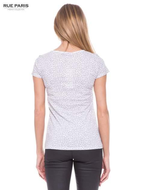 Biały panterkowy t-shirt z transparentnym karczkiem                                  zdj.                                  3