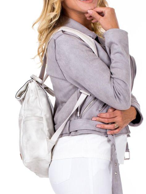 Biały plecak damski z eko skóry z plecionką i ażurowaniem                              zdj.                              3