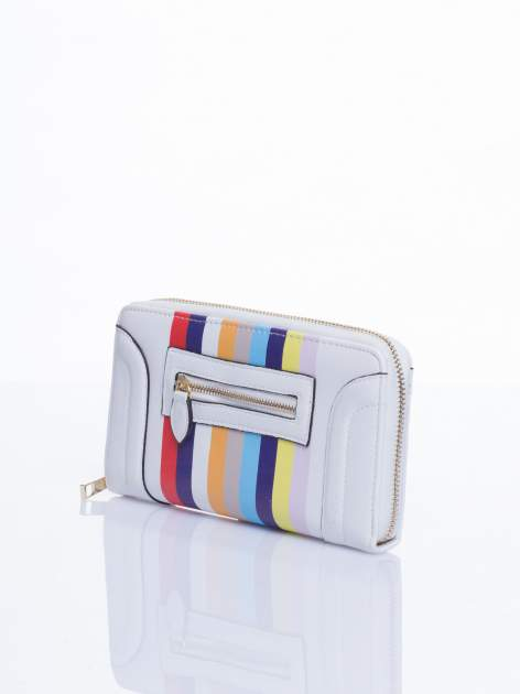 Biały portfel w paski z kieszonką                                  zdj.                                  3