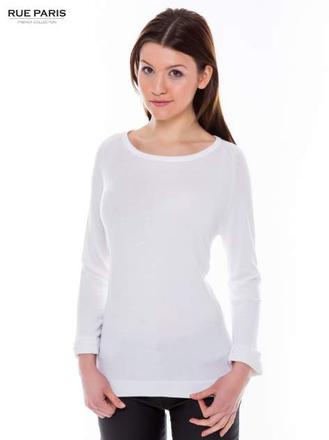 Biały sweter z długim rękawem wykończonym koronkowym mankietem                                  zdj.                                  1
