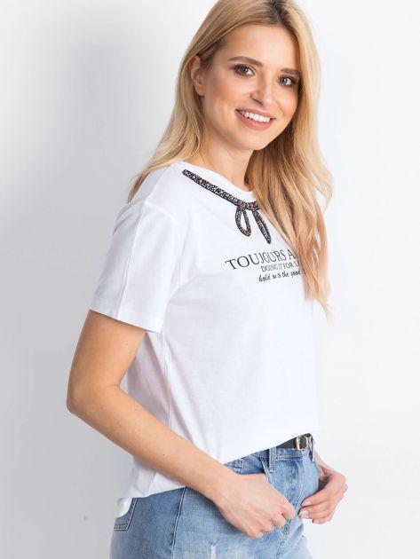 Biały t-shirt Astonishment                              zdj.                              3