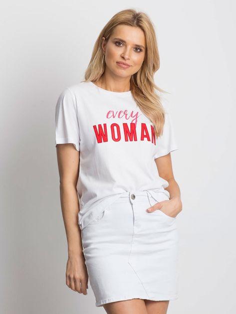 Bialy t-shirt EVERY WOMAN                              zdj.                              1
