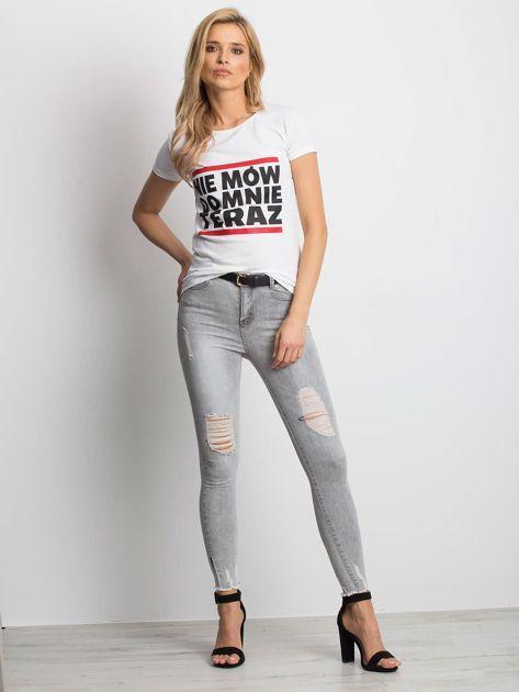 Biały t-shirt NIE MÓW DO MNIE TERAZ                              zdj.                              5
