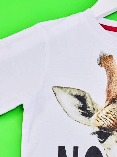 Biały t-shirt chłopięcy z żyrafą i napisem NO PICTURE                                  zdj.                                  3
