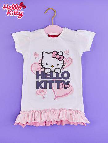 Biały t-shirt dla dziewczynki z motywem HELLO KITTY                                  zdj.                                  1
