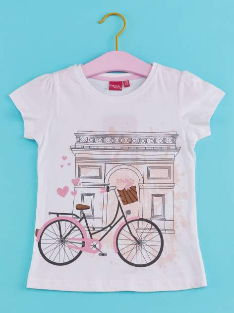 Biały t-shirt dla dziewczynki z motywem francuskim