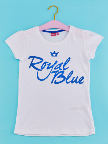 Biały t-shirt dla dziewczynki z napisem ROYAL BLUE                                  zdj.                                  1