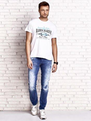Biały t-shirt męski z napisami i kotwicą                                  zdj.                                  4