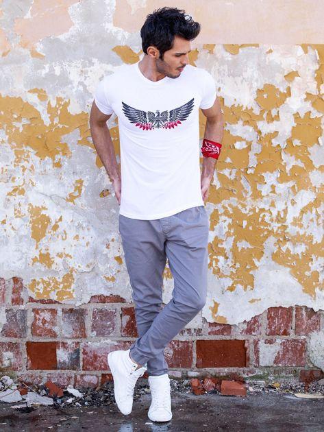 Biały t-shirt męski z orłem                              zdj.                              4