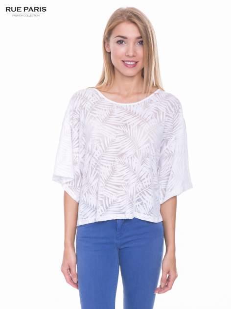 Biały t-shirt w transparentny nadruk palm o kimonowym kroju                                  zdj.                                  1