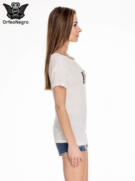 Biały t-shirt z aplikacją ENJOY z cekinów                                  zdj.                                  3