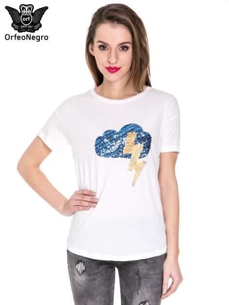 Biały t-shirt z aplikacją z cekinów