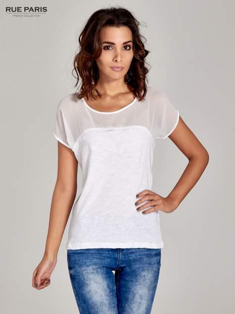 Biały t-shirt z górą mgiełką                                  zdj.                                  1