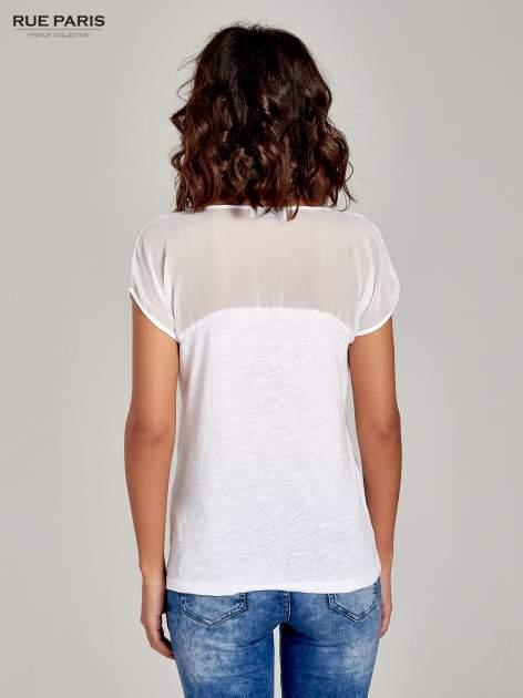Biały t-shirt z górą mgiełką                                  zdj.                                  4
