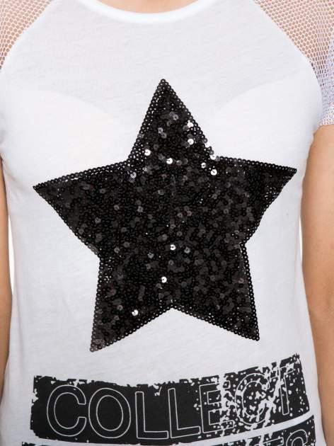 Biały t-shirt z gwiazdą z cekinów                                  zdj.                                  8