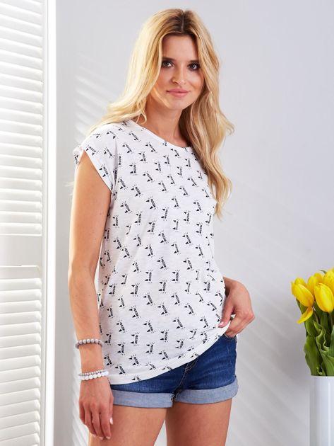 Biały t-shirt z kocim motywem                              zdj.                              1