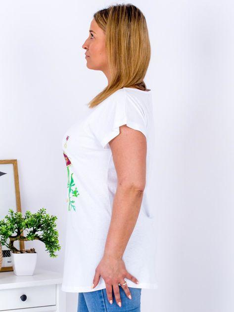 Biały t-shirt z kwiatowym printem PLUS SIZE                                  zdj.                                  5