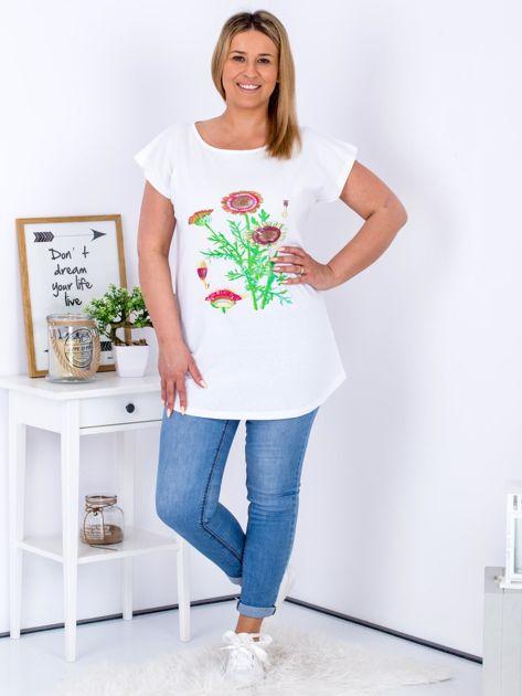 Biały t-shirt z kwiatowym printem PLUS SIZE                                  zdj.                                  4