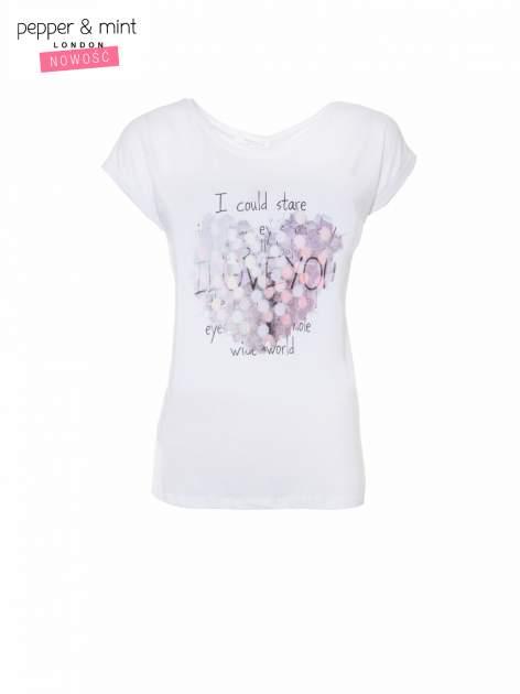 Biały t-shirt z motywem serca                                  zdj.                                  2