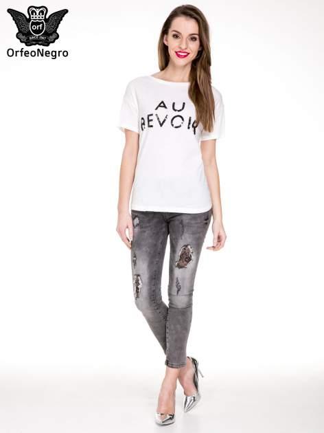 Biały t-shirt z nadrukiem AU REVOIR z cekinów                                  zdj.                                  2
