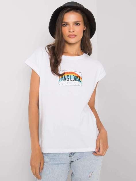 Biały t-shirt z nadrukiem Aloha