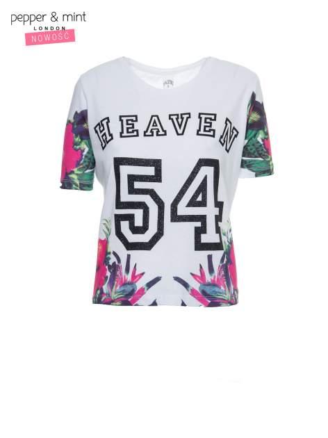 Biały t-shirt z nadrukiem HEAVEN 54 w stylu eclectic                                  zdj.                                  2