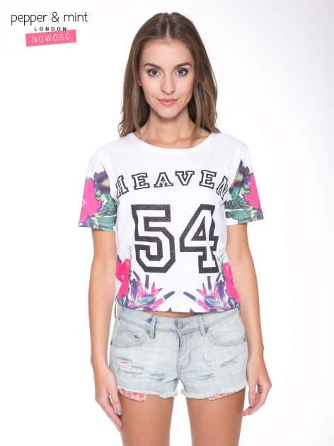 Biały t-shirt z nadrukiem HEAVEN 54 w stylu eclectic