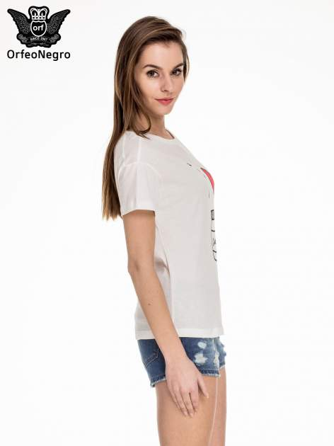 Biały t-shirt z nadrukiem I LOVE CHOCOLAT                                  zdj.                                  3