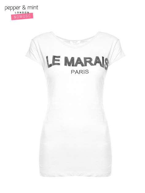 Biały t-shirt z nadrukiem LE MARAIS                                  zdj.                                  2