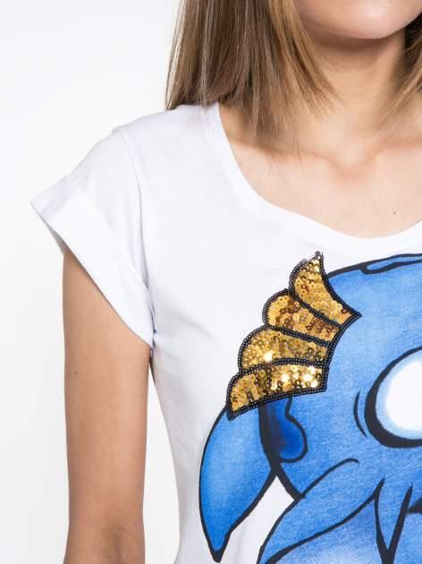 Biały t-shirt z nadrukiem Stich                                  zdj.                                  5