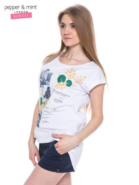 Biały t-shirt z nadrukiem i wydłużanym tyłem                                  zdj.                                  2