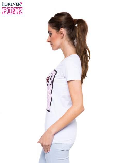 Biały t-shirt z nadrukiem komiksowym                                  zdj.                                  2