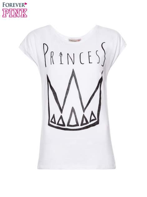 Biały t-shirt z nadrukiem korony księżniczki                                  zdj.                                  2