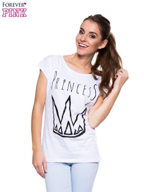 Biały t-shirt z nadrukiem korony księżniczki                                  zdj.                                  1