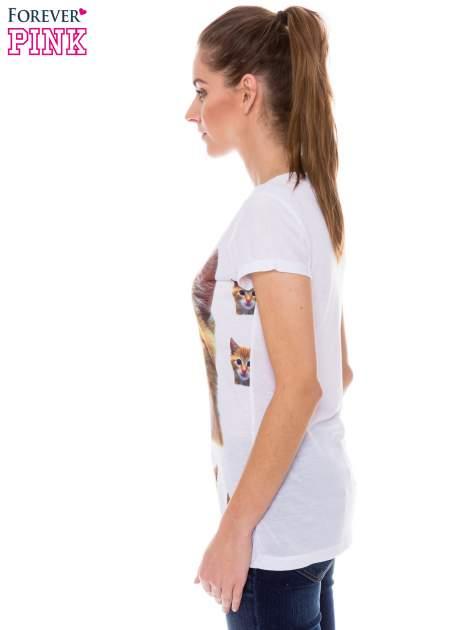 Biały t-shirt z nadrukiem kotka                                  zdj.                                  2